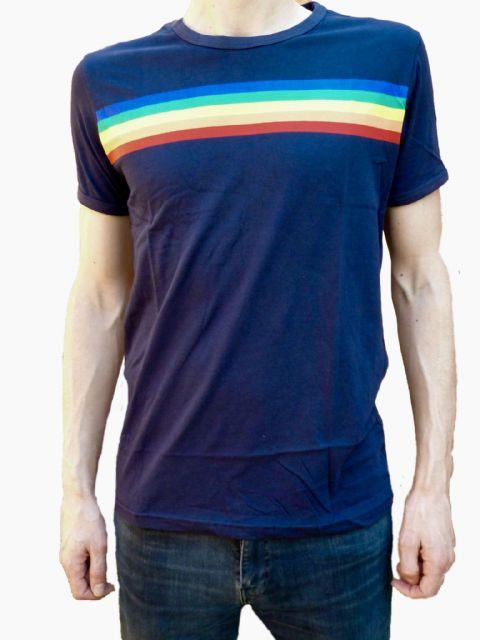 Rainbow Tee - Mens 70's Rainbow T-Shirt - Blue